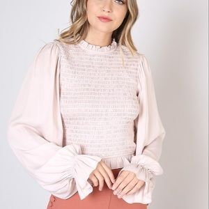 Blush Pink Smocked Long Sleeve Blouse DO+BE
